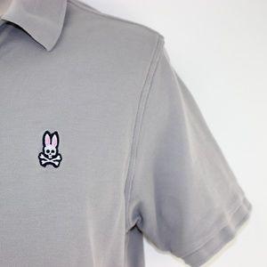 PSYCHO BUNNY CLIFF GRAY Medium 5 PIMA cotton Polo